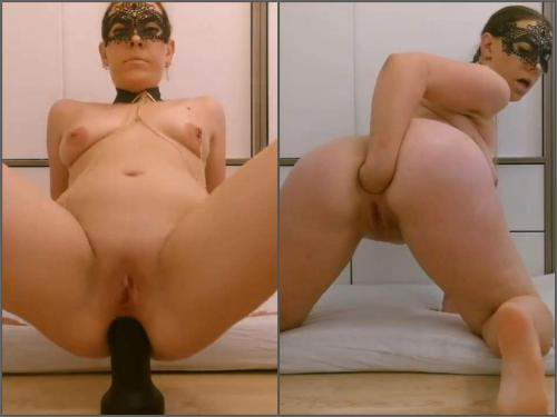Anal – Masked girl with saggy tits BBC dildo fuck and self fisting