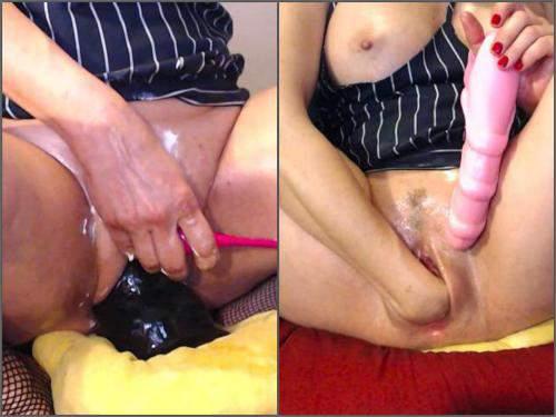 Closeup – Hottielouve big dildo + full fist in dilated pussy – Premium user Request