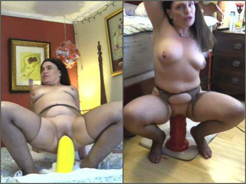 Closeup – Big tits mom Hottabbycat vaginal gape ruined with two colossal dildos