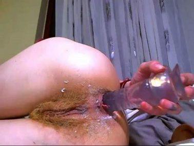 Dildo anal - Perverted redhead girl angelsdaniel insertion dildo in her hairy anus