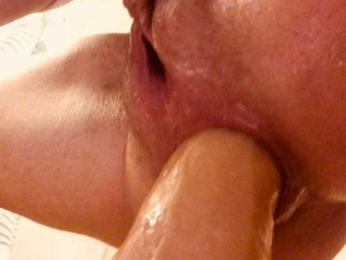 Squirting – AnalOnlyJessa squirting from big dildo in my loose ass – Premium user Request