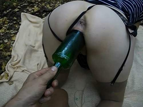 Girl gets fisted – Amateur wife outdoor gets fisted and wine bottle vaginal penetration