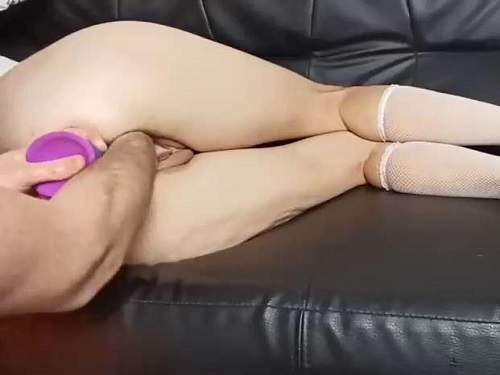 Pussy fisting – Amateur wife gets DP with rainbow dildo and fisting to gaping pussy