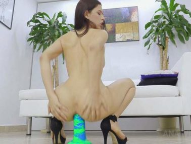 Interracial - Latina Alicia Trece giant rubber bad dragon dildo anal rides