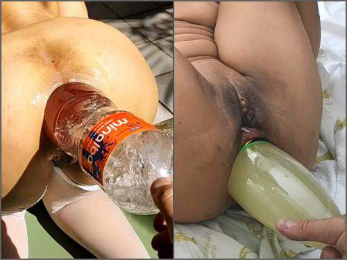 Gaping anal – Many really huge plastic bottles ruined anal gaping hole wife outdoor