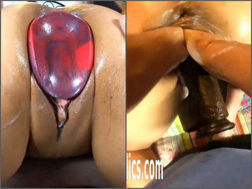 vaginal gape,stretching pussy,monster dildo fuck,giant dildo fuck,monster toy insertion,double vaginal fisting