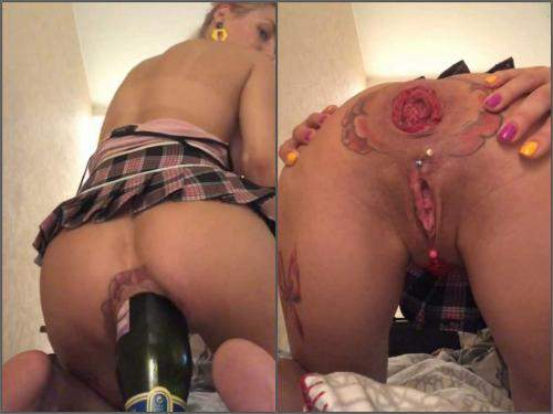 Pussy piercing – Giant champagne bottle loose tattooed anal prolapse