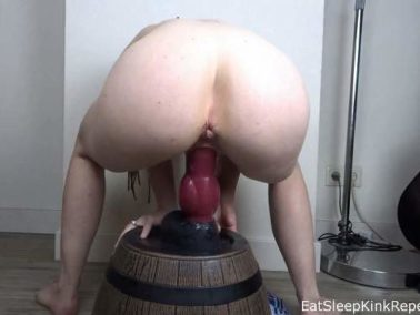 Bad Dragon - Piercing nipples wife EatSleepKinkRepeat fully rides on a rubber huge dog dildo