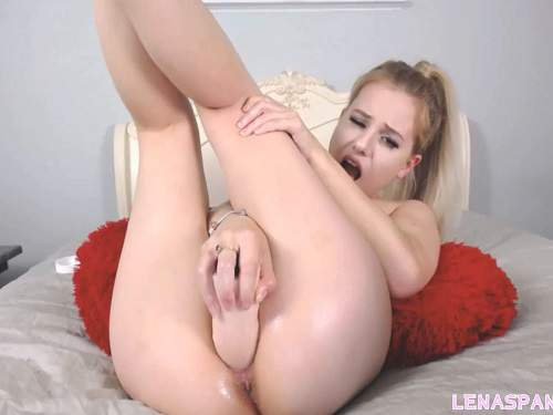 Pussy insertion – Cute big tits blonde LenaSpanks penetration dildo in wet pussy