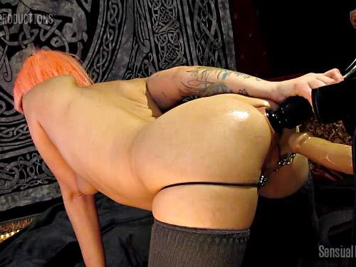 Dildo porn – Bald pornstar Abigail Dupree try to penetrate double dildos in ass and piercing pussy
