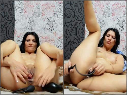 Russian girl – Webcam horny russian brunette Kristinaslut insertion inflatable dildo vaginal