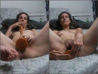 Dildo porn - Perverse skinny wife Tattoomama420 gets very long knot dildo fully in asshole