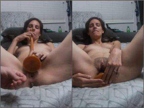 Dildo porn – Perverse skinny wife Tattoomama420 gets very long knot dildo fully in asshole