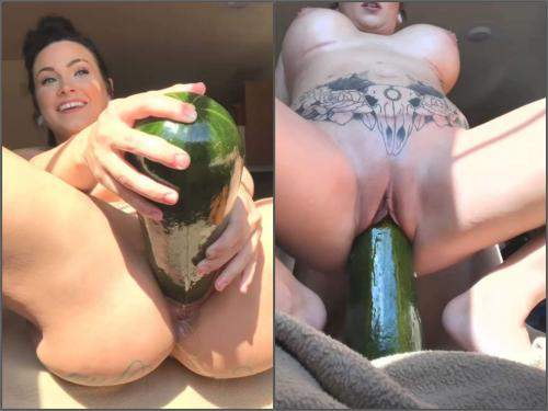 Pussy stretching – Silicone tits brunette LilySkye penetration huge vegetable in gaping pussy