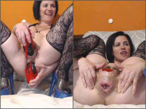 Solo fisting – Analvivian penetration long heels boots in pussy and anal