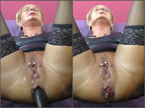 Anal prolapse – German wife with piercing labia enjoy long dildo in her prolapse anal