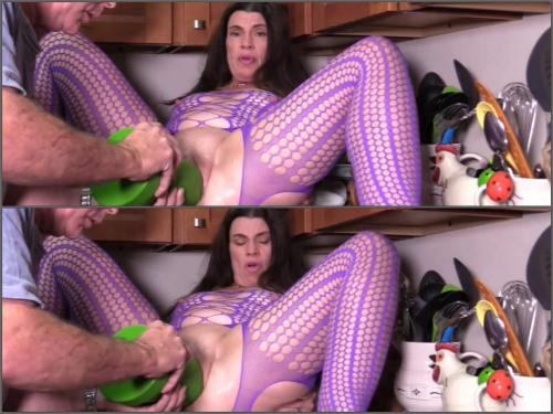 Closeup – Hottabbycat first in this year two monster dildos vaginal penetration