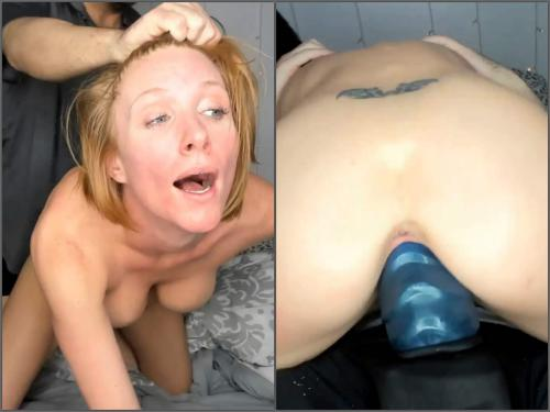 Bad Dragon – Busty wife Akgingersnaps rides on a monster strapon vaginal