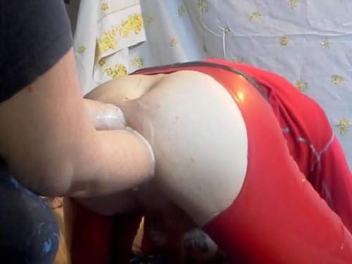 Rosebutt – Femdom wife double fisting anal domination to husband homemade