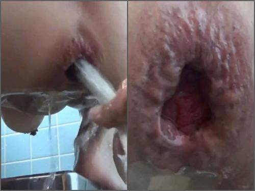 Japaneseporn – Asian busty wife water enema and giant gape loose in the bathroom