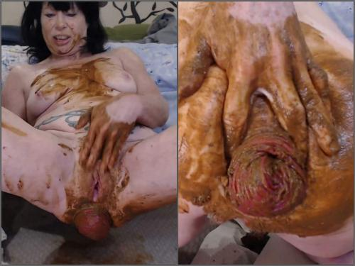 Scat wife – Awesome new scat pornstar fisted her shitting prolapse anal