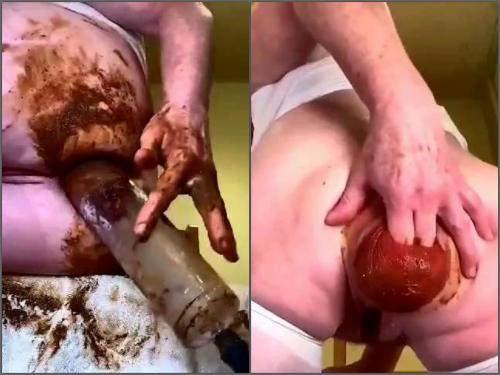 Scat prolapse – Amateur kinky MILF shitting anal prolapse pump extreme