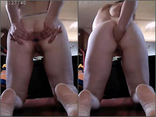 Anal fisting – Tattooed back wife first try anal fisting in doggy style pose homemade
