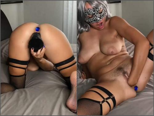 Huge dildo – Fallen Angel with beautiful natural tits enjoy self fisting and dildo penetration
