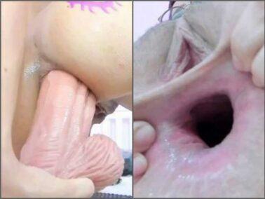 Dildo riding - New pornstar khloe_sr stretched her sweet hairy anal gape