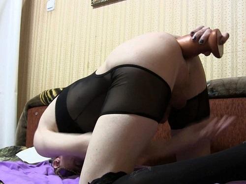 Closeup – Tranny Aljonkdon penetration colossal slink dildo deeply anal