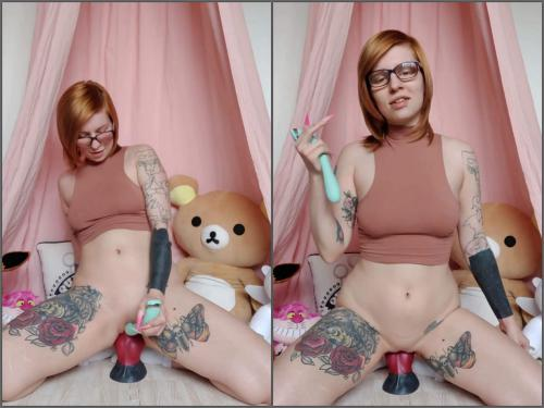 Animal dildo – Skinny redhead tattooed teen Pupsicle_stick huge dog dildo penetration vaginal